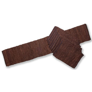 Brown Leather Table Runner and Placemat Set