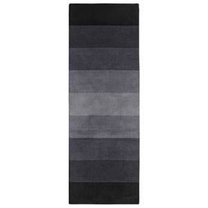 Black to Grey Stripes Runner: 2.5 Ft. x 12 Ft. Rug