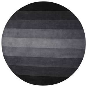 Black to Grey Stripes Round: 6 Ft. Rug