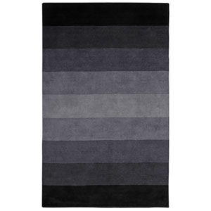 Black to Grey Stripes Rectangular: 8 Ft. x 10 Ft. Rug