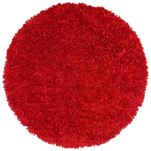 Red Shimmer Shag 2 Ft. x 2 Ft. Round Rug