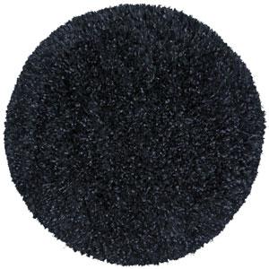 Black Blue Shimmer Shag 2 Ft. x 2 Ft. Round Rug