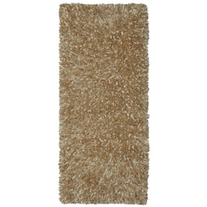 Beige Blue Shimmer Shag 2 Ft. x 5 Ft. Runner