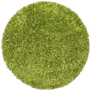 Green Blue Shimmer Shag 3 Ft. x 3 Ft. Round Rug