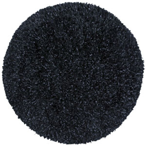 Black Blue Shimmer Shag 5 Ft. x 5 Ft. Round Rug