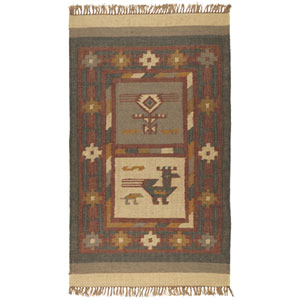 Off White Hacienda Tribal 30-Inch x 50-Inch Rug