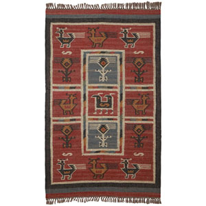 Hacienda Brick Tribal Rectangular: 3 Ft x 5 Ft Rug