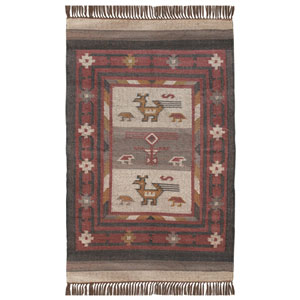 Hacienda Off-White Tribal Rectangular: 3 Ft x 5 Ft Rug