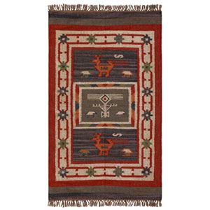 Hacienda Multicolor Tribal Rectangular: 3 Ft x 5 Ft Rug