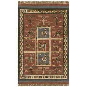 Hacienda Tribal Brick Rectangular: 5 Ft. x 8 Ft.  Rug