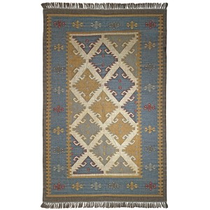 Hacienda Blue and Grey Rectangular: 5 Ft. x 8 Ft. Rug