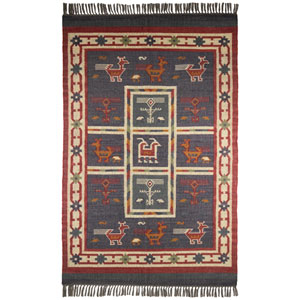 Hacienda Tribal Blue Rectangular: 5 Ft. x 8 Ft. Rug