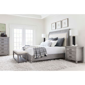 Willow Pewter Upholstered King Bed