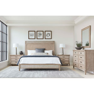 Willow Burlap California King Panel Bed