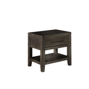 Brown One Drawer Night Stand, with night light and USB port