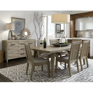 Casablanca Brown Seven-Piece Rectangular Dining Table and Chairs
