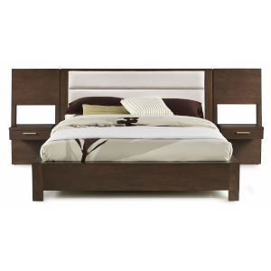 Montreal Brown Queen Sized Upholstered Platform Bed with Panel Nightstands
