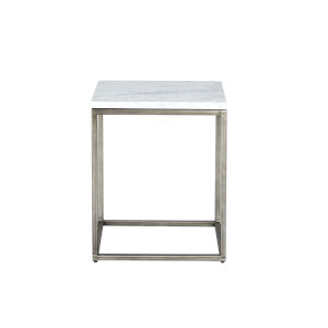 Julien Rectangular Chairside Table Gunmetal Base with White Marble Top