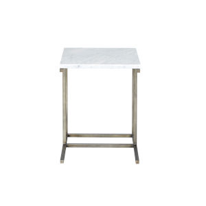 Julien Gunmetal Base Chairside Table with White Marble Top