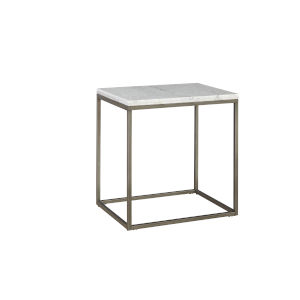 Julien Rectangle End Table with White Marble Top