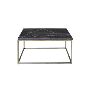 Julien Gunmetal Base Square Cocktail table with Black Marble top.