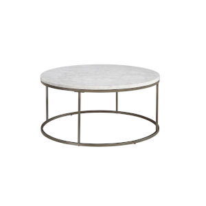 Julien Round Coffee Table with White Marble Top
