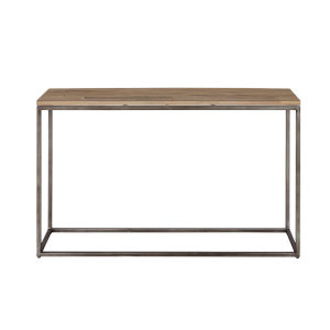 Julien Gunmetal Base Console Table with Acacia Top
