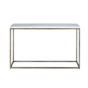 Julien Console Table Gunmetal Base with White Marble Top