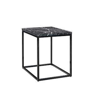 Julien Black Base Rectangular End table with Black Marble top.