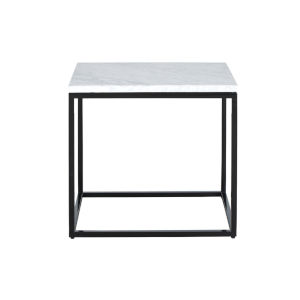 Julien Black Base Rectangular End table with White Marble top.