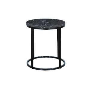 Julien Black Base Round End table with Black Marble top.