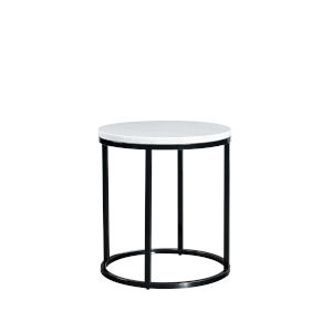 Julien Black Base Round End table with White Marble top.