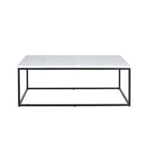 Julien Black Base Rectangular Cocktail table with White Marble top.