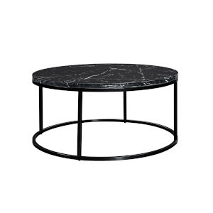 Julien Black Base Round Cocktail table with Black Marble top.