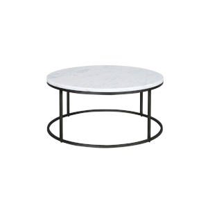 Julien Black Base Round Cocktail table with White Marble top.