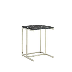 Julien Chrome Base Chairside Table with Black Marble Top