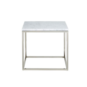 Julien Rectangular End table Chrome Base with White Marble top.