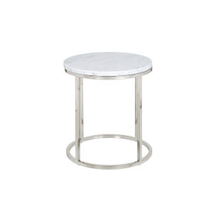 Julien Chrome Base Round End table with White Marble top.