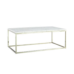 Julien Chrome Base Rectangular Cocktail table with White Marble top.