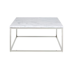 Julien Chrome Base Square Cocktail table with White Marble top.