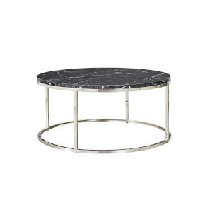 Julien Chrome Base Round Cocktail table with Black Marble top.