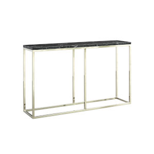 Julien Chrome Base Console Table with Black Marble Top