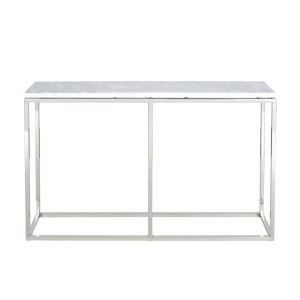 Julien Chrome Base Console Table with white Marble Top