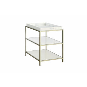 Delaney White End Table with Removable Tray