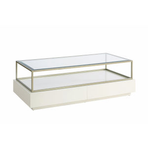 Delaney White Rectangular Two-Drawer Coffee Table