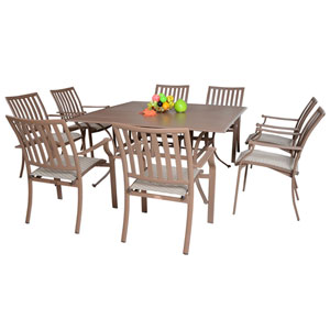 Island Breeze Espresso Outdoor Dining Sets, 9 Piece