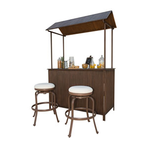 Tiki Bar Antique and Espresso Tiki Bar Backless Barstool Set with Cushions, 3 Piece