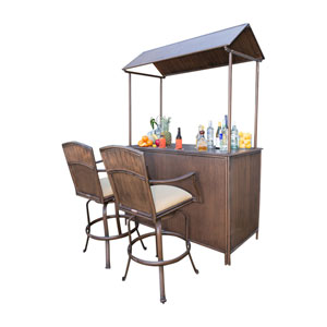 Tiki Bar Antique Tiki Bar Backless Barstool Set with Cushions, 3 Piece