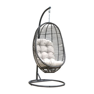 Intech Grey Outdoor Hanging Chairs with Sunbrella Dupione Bamboo cushion, 2 Piece