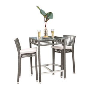 Intech Grey Pub Set with Sunbrella Canvas Vellum cushion, 3 Piece